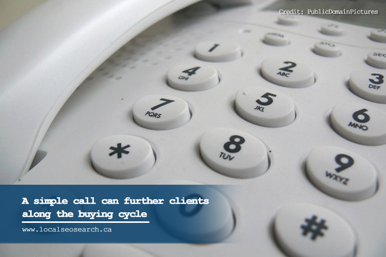 A simple call can further clients along the buying cycle