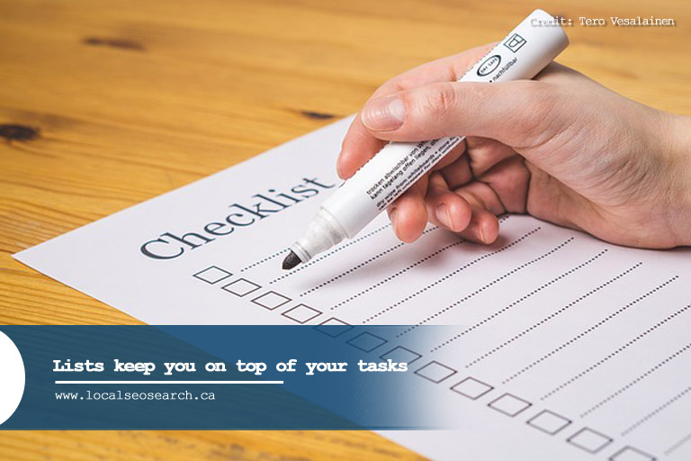 Lists keep you on top of your tasks